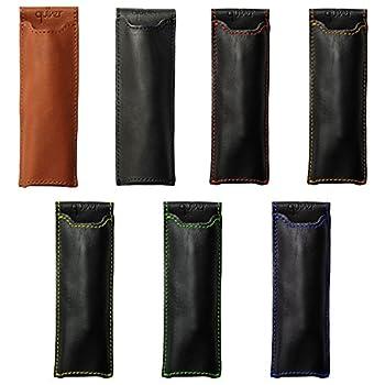 """Pocket Two Pen Holder Quiver, Leather Pen Holder For Notebooks, Pen Case & Pen Sleeve, A6, 5.5"""" - 6.5"""" tall. (14cm - 16.5cm) (Orange)"""