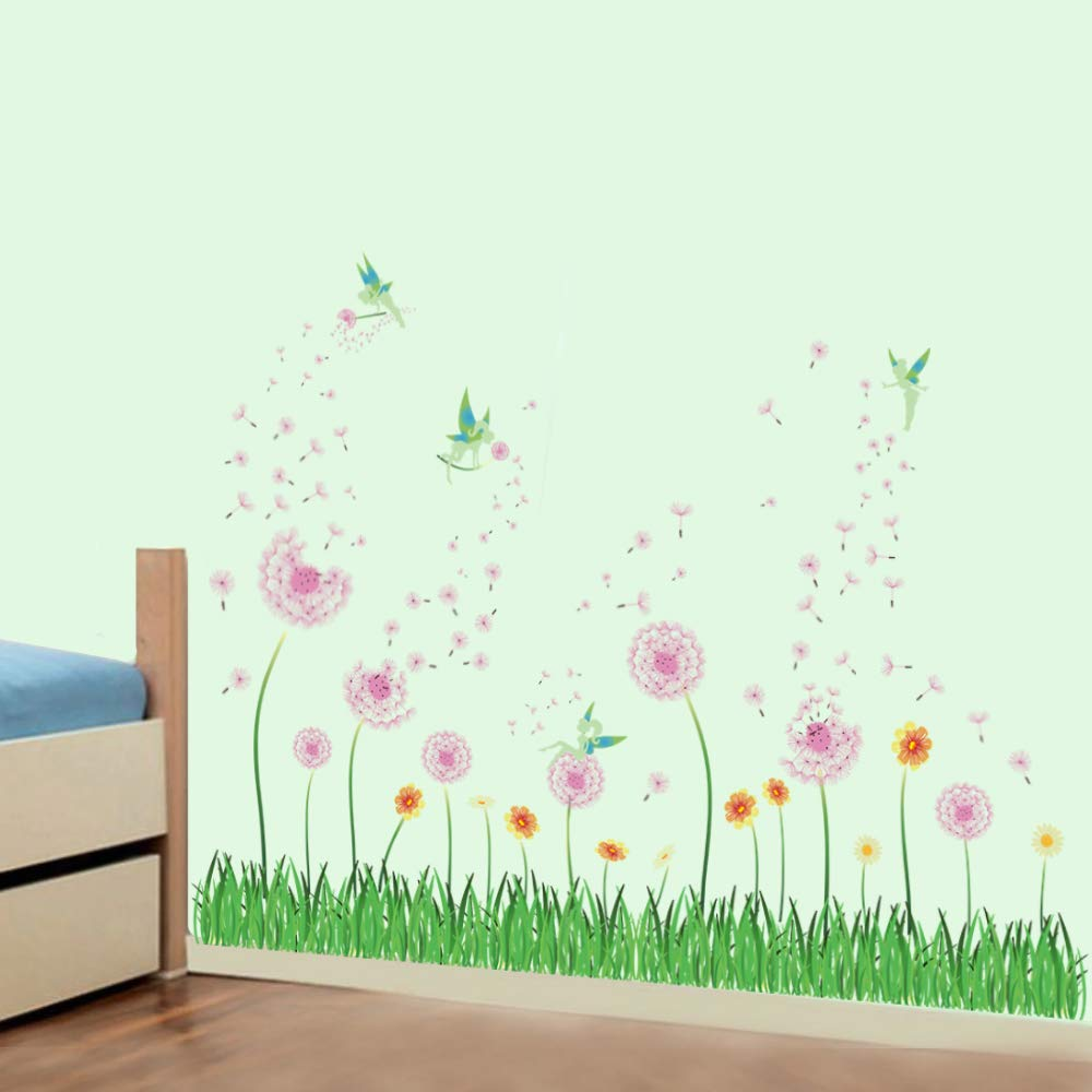 5207b006a2 decalmile Pink Dandelion Grass Fairy Wall Corner Decals Baseboard Skirting  Line Wall Stickers Living Room Bedroom Wall Art Decor - - Amazon.com
