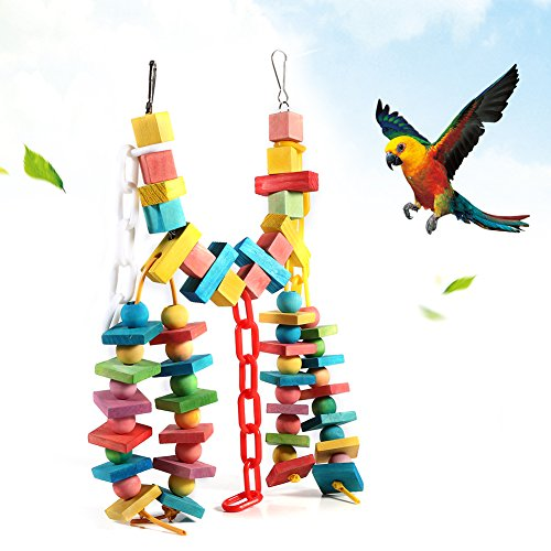 GLOGLOW Colorido Jaula de Loro Juguetes de mordedura de Madera de Madera, pájaro Brillante del Animal doméstico Colgante Swing Scratcher Perch Loro de Mascota Duradera Masticar Juguetes