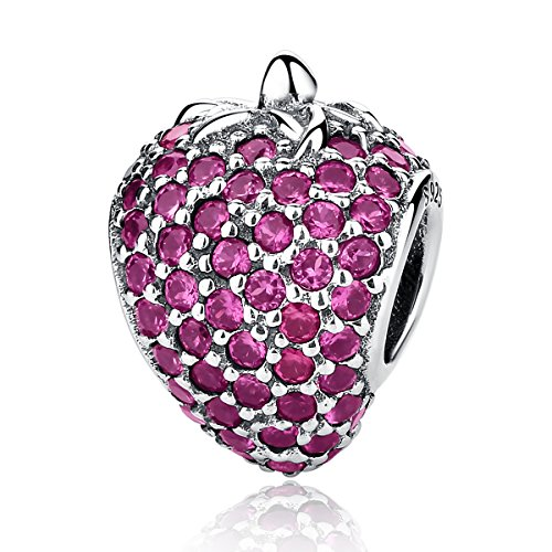 - Christmas Apple Beads Red Enamel Charm 925 Sterling Silver Charms Apple with Clear Crystal Charm Fruit Lucky Birthstone Bead for Charm Bracelets (Crystal Strawberry Charm)