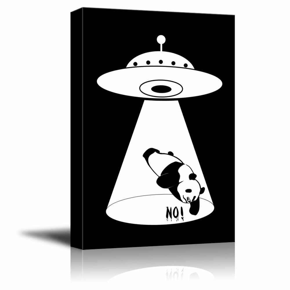 wall26 Canvas Wall Art - UFO Abduction of a Panda - Giclee Print Gallery Wrap Black and White Children's/Kids' Room Wall Decoration Ready to Hang - 12'' x 18''