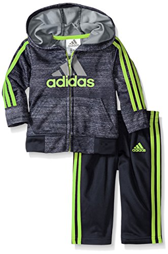 adidas Little Boys' Zip Hoodie and Pant Set, Mercury Grey, 7