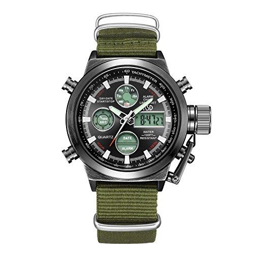 Tamlee Fashion Brown Leather Men's Military Watch Waterproof Analog Digital Sports Watches for Men (TM-103C-Black)