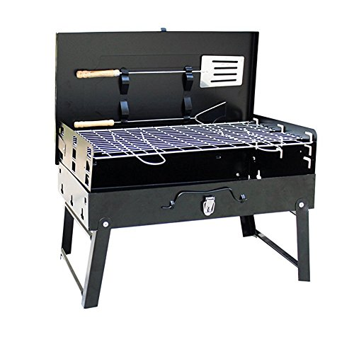 Takuey Portable Folding Charcoal BBQ Grill Barbecue Rack for 4-5 People Briefcase Style With Forklift Barbecue Set