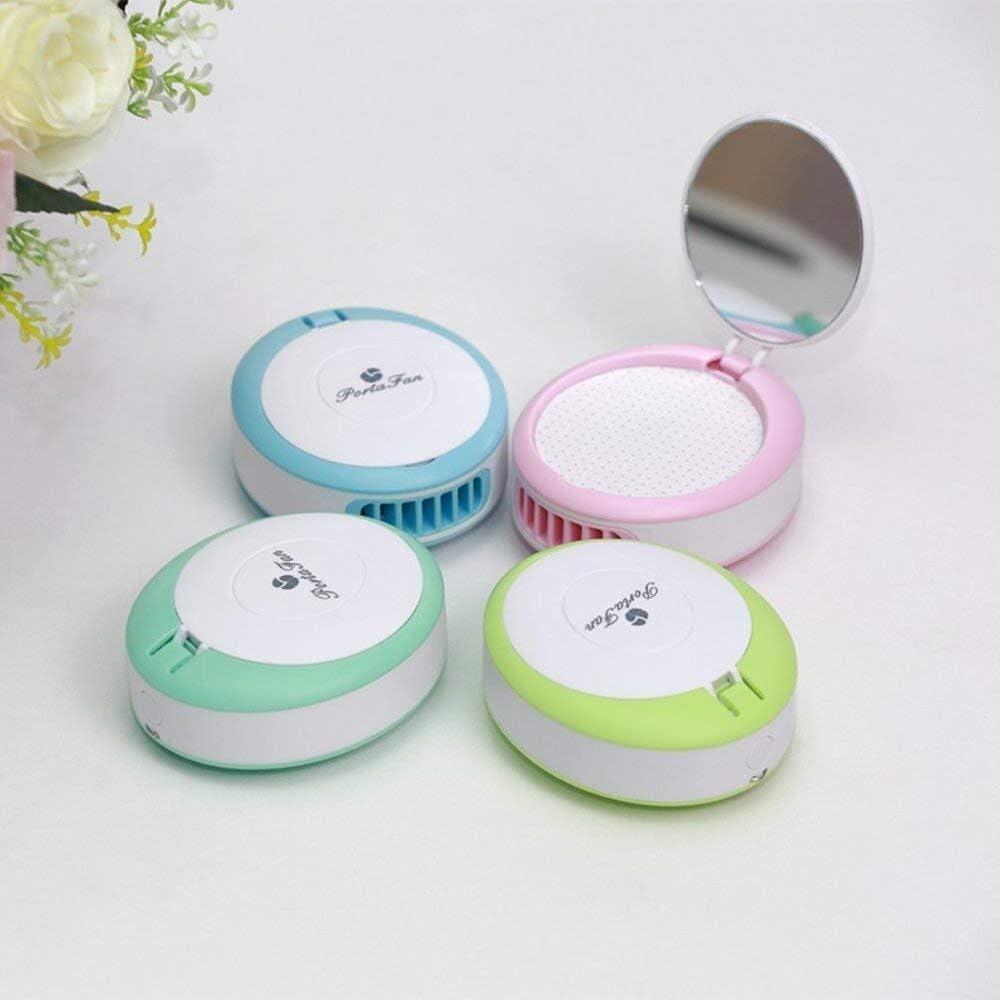 Mini Fan Mini Mirror USB Fan Handheld Air Conditioner Eyelash Blower Desktop GAOFENG Color : Blue, Size : 9.584cm