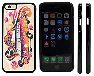 lintao diy Rikki KnightTM Beatle Peace Retro van - flower power Design iPhone 6 Case Cover (Black Rubber with front bumper protection) for Apple iPhone 6