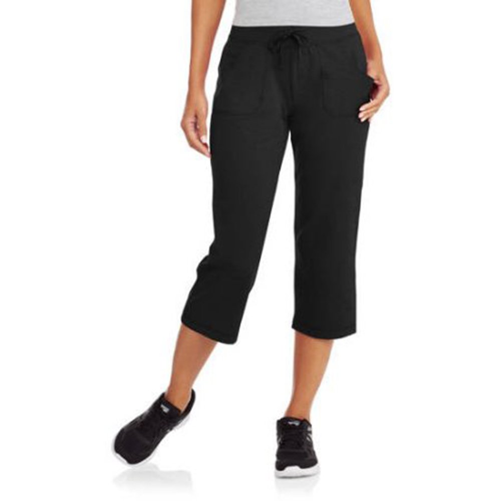 Athletic Works Womens Active Knit Capri (Large, Black)