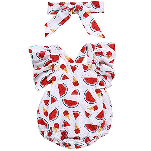 (Canis Baby Girls' Full Flower Print Buttons Ruffles Romper Bodysuit with Headband (100(18-24M), Watermelon))