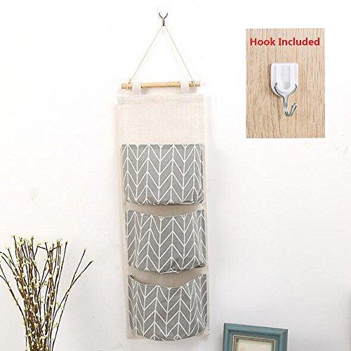 Shelf Wall Diaper (Over The Door Organizer, Linen Farbric Wall Closet Storage Bag with 3 Pockets for Bedroom, Bathroom (Grey))