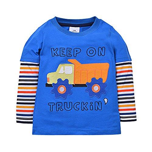 HUAER Baby Boys Cotton Cartoon Long Sleeved T Shirt 3T Height 90 95 Cm 34 37 Inch Blue2