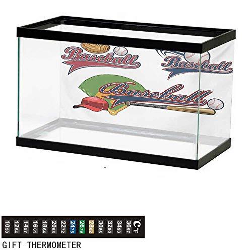 wwwhsl Aquarium Background,Sports,Baseball Mitt Ball Bat Hardball Supplies Exercise Team Various Classical Designs,Multicolor Fish Tank Backdrop 30