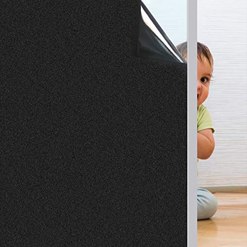 "Coavas Blackout Window Film Non Adhesive Static Cling Darkening Black Frosted Insulation Privacy Removable 100% Light Blocking for Baby's Room Bedroom and Home 17.7"" x 78.7"""