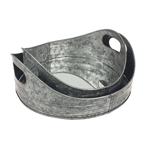 (Stonebriar Round Nesting Galvanized Metal Serving Tray Set with Handles, Rustic Butler Trays, For Serving Food and Drink, a Unique Coffee Table Centerpiece, or Desk Organizer for Documents)