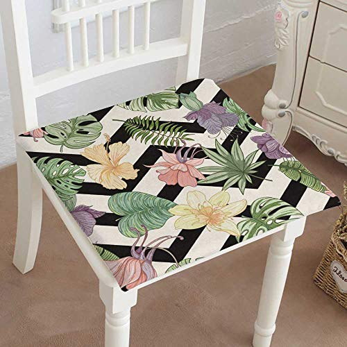 (Mikihome Chair Pads Classic Design Tropical Palm Leaves and flowerssummer Endless Drawn Vector Background of Cotton Canvas Futon 16