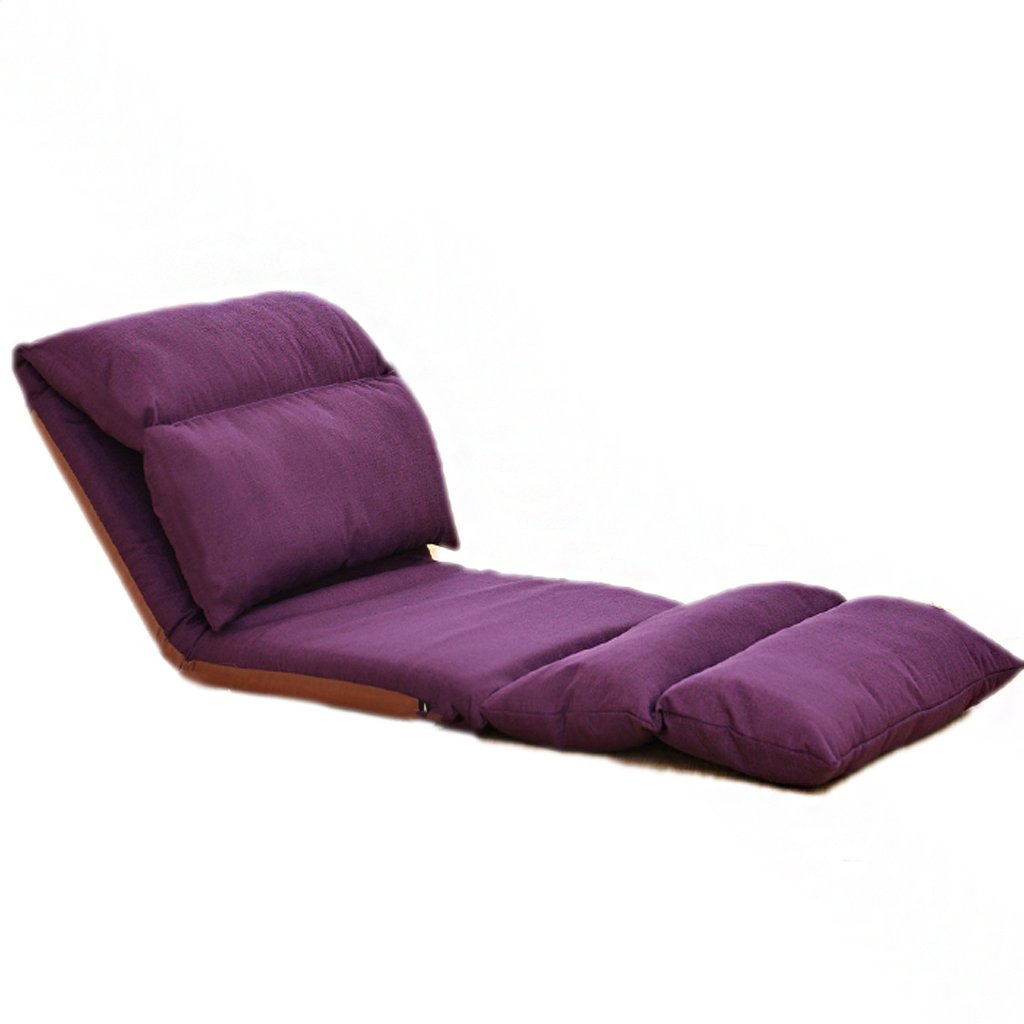 Recliners Lazy Couch Small Sofa Cushion On The Bed Bedroom Lazy Chair Foldable Back Chair Soft and Comfortable Tatami Single Sofa Stylish Mini Folding Sofa (color   Purple)