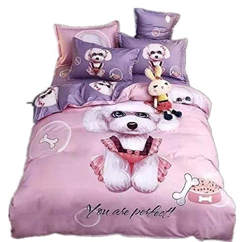 YIMEI Children Bed Sheets & Duvet Cover 4 Piece Sets (Pink, Full Size), Gorgeous Pattern, Reactive Dyeing,Style Craft, Large Vision of Design Turn Your Bed Into A Piece of Art.