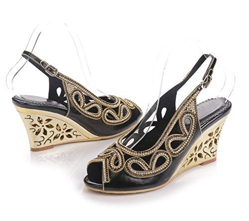 Señoras Tobillo tamaño Paseo Mujer Boda Tacón Negro Diamante Cuña Correa Fiesta Zapatos Sandalias Vestir w17dxqX4