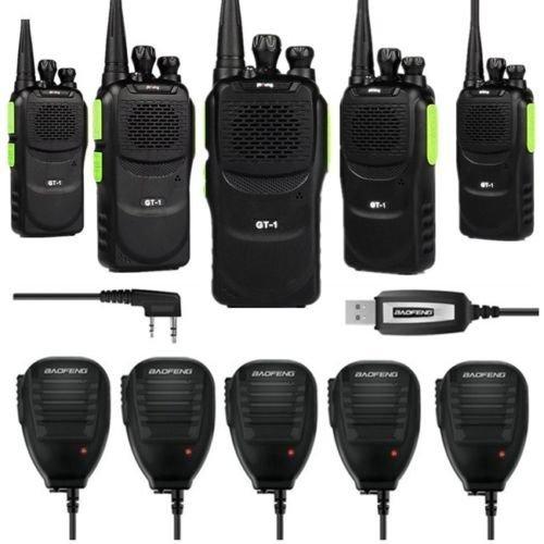 Baofeng 5 x Pofung GT-1 UHF 400-470MHz FM Two-Way Ham Radio Green (LOT 5) + 1 x Programming Cable + 5 x Speaker Mic (Gt Baofeng 1)