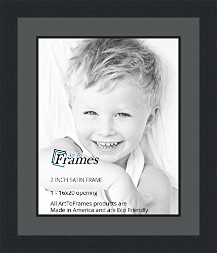 16x20 / 16 x 20 Picture Frame Satin Black .. 2'' wide with a 2'' double (2' Wide Satin)