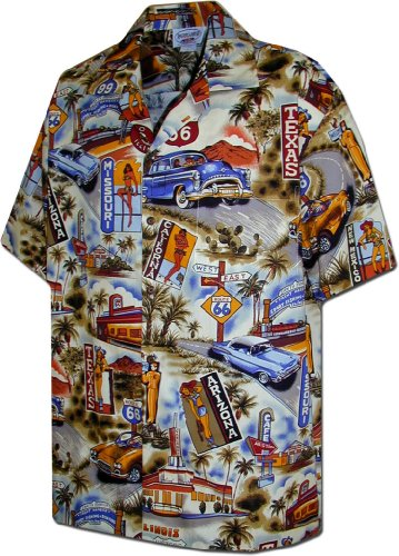 Pacific Legend Route 66 Scenic Car Shirts in Sand 2XL 410-3644