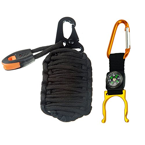 Paracord Grenade Emergency Kit 20 In 1 - Your Survival Pack Has an Upgraded Military Grade Carabiner Snap Hook Is Stuffed with 20 Tools 2 colors & Bottle Clip - And Snap Is
