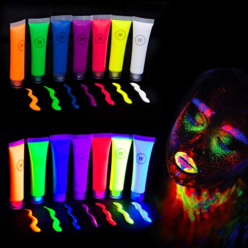 festiFACE Ultra Glow UV Neon Face & Body Paint Set –7 Color Large 0.5oz Party kit. Brush & Sponges. Black Light Reactive, Fluorescent FX-100% NonToxic. Super Fun Festival Body Paints! ()