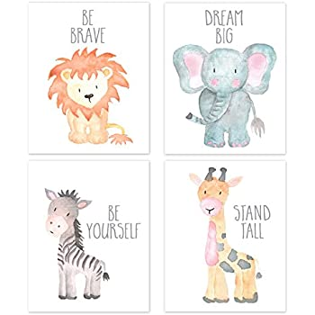 Nursery Wall Art Animal Paintings Set of 4, Safari Nursery Baby Kids Room Wall Prints, Baby Animal Portraits Lion Elephant Zebra Giraffe Nursery Art, ...