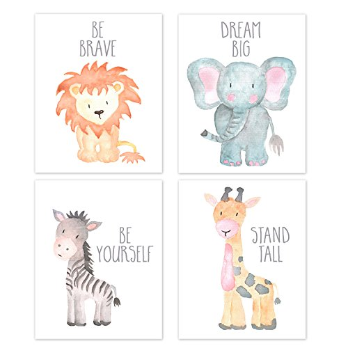 Nursery Wall Art Animal Paintings Set of 4 Safari Nursery Baby Kids Room Wall Prints Baby Animal Portraits Lion Elephant Zebra Giraffe Nursery Art Nursery Decor Baby Kids Room Wall Art UNFRAMED