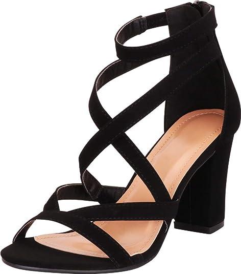 Cambridge Select Women/'s Crisscross Strappy Chunky Block High Heel Sandal