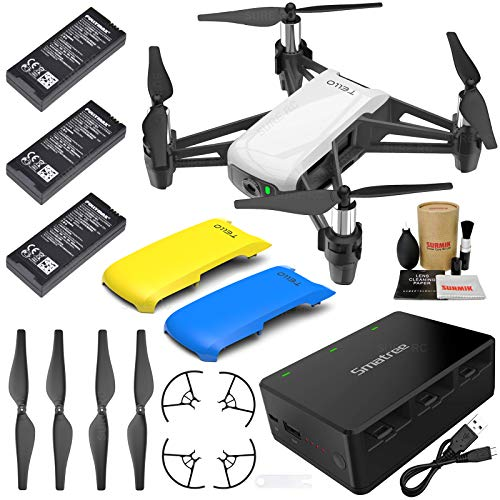 Tello Drone Quadcopter Executive Combo with 3 Batteries, Portable Charging Station, Yellow & Blue Snap-On Covers and More