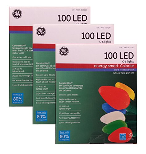GE Energy Smart 100 LED C-6 Holiday/Christmas Lights - 33ft String (Indoor/Outdoor) (3)