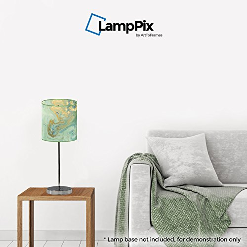 LampPix ArtToFrames 10 Inch Table Lamp Shade - Marble Green Canvas Desk Lampshade (Spider Fitting)