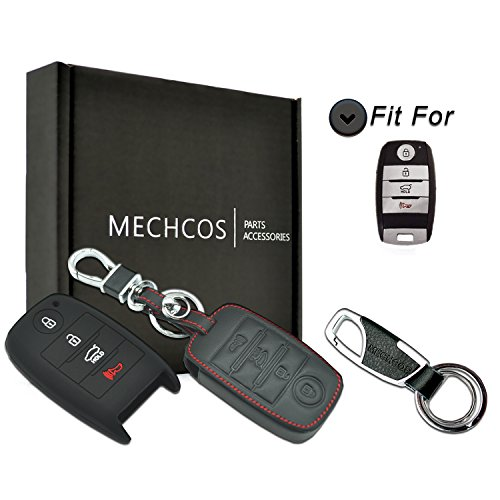 MECHCOS For 4buttons Kia K3 K5 Cerato Forte Sorento Rio Rio5 Optima Leather Smart Keyless Entry Remote Control Key Fob Cover Pouch Bag Jacket Case Protector Shell