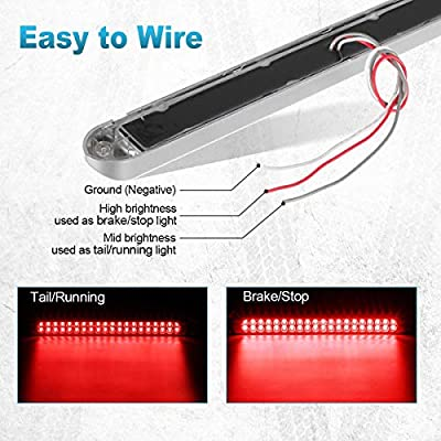"""Partsam 2Pcs 17 Inch Red Led Truck Trailer Tail Light Bar 40 LED Clear Lens, Clear Red 17"""" Sealed LED Waterproof Stop Turn Tail Brake S/T/T Marker Identification 3RD Third Brake Light Bar: Automotive"""