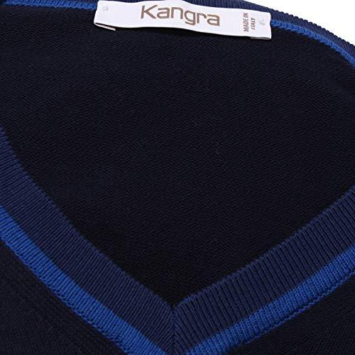 V Dark Blu Sweater Neck Kangra Uomo Man Cotton 8895x Blue Maglione qXFFwt