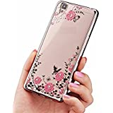 LOXXO New Edition Case for Vivo V3 Max- Shockproof Silicone Soft TPU Transparent Auora Flower Case with Sparkle for Vivo V3 Max Back Cover Rose Gold