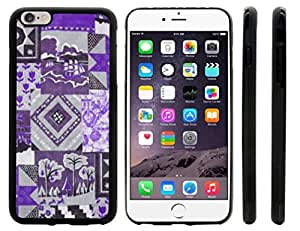 Rikki KnightTM Purple Patchwork Quilt Design iPhone 6 Plus Case Cover (Black Rubber with front bumper protection) for Apple iPhone 6 Plus