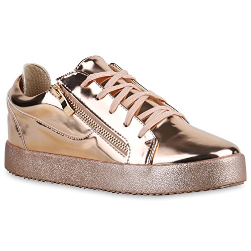 Damen Sneakers Metallic Sneaker Low Zipper Glitzer Schuhe Lack Animal Print Turnschuhe Sportschuhe Leder-Optik Plateau Flats Flandell Rose Gold Lack