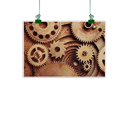 - Unpremoon Industrial,Wall Art Decor Poster Painting Inside The Clocks Theme Gears Mechanical Device Image in Steampunk Style Print Kitchen Wall decorCinnamon W 40