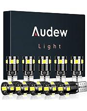 Audew T10 W5W LED CANBUS Bombillas 2835SMD LED 12V 4882K - Wedge Lampara para Coches de Interior y Exterior Xenón - 10 Pack Luces LED Coche (Blanco)