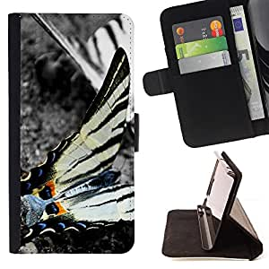 DEVIL CASE - FOR Apple Iphone 4 / 4S - Butterfly Nature Black White Stripes Grey - Style PU Leather Case Wallet Flip Stand Flap Closure Cover