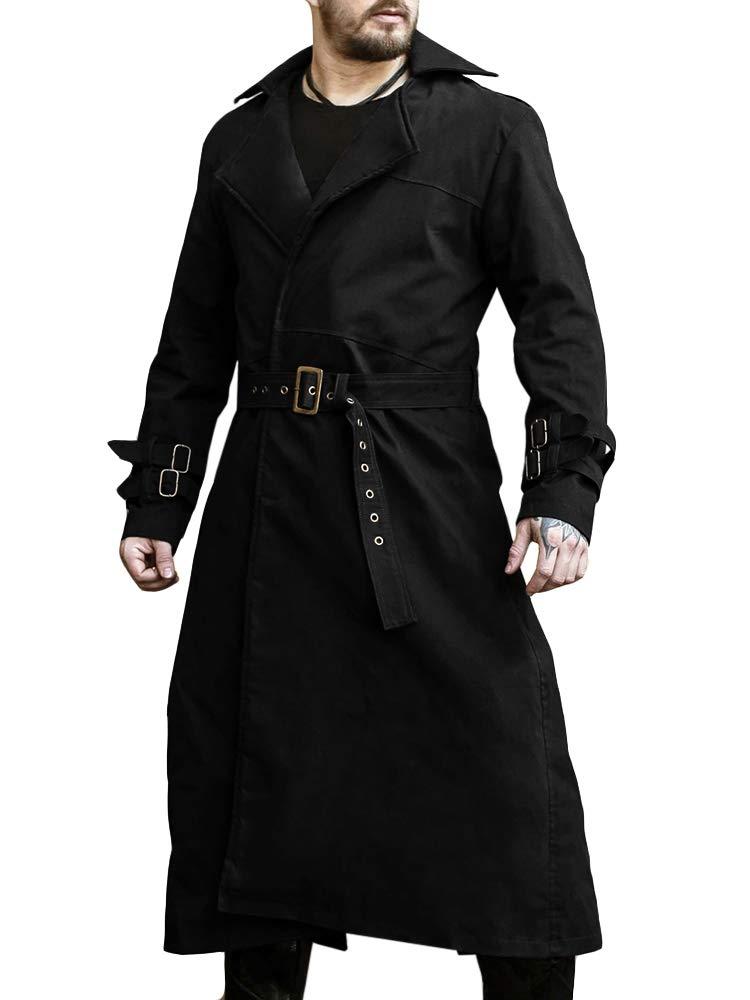 Pengfei Mens Trench Coat Winter Fall Long Jacket Knee Length Overcoat Black by Pengfei