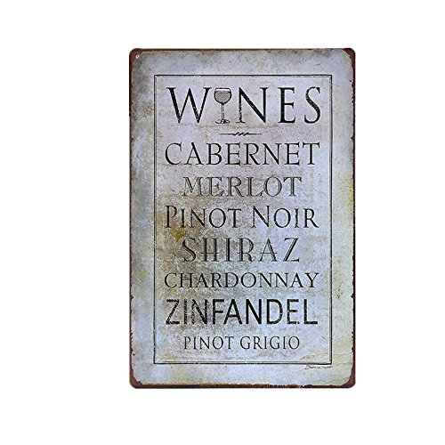 Wines Words Metal Sign Tin Signs Retro Shabby Wall Plaque Metal Poster Plate 20x30cm Wall Art Coffee Shop Pub Bar Home Hotel Decor