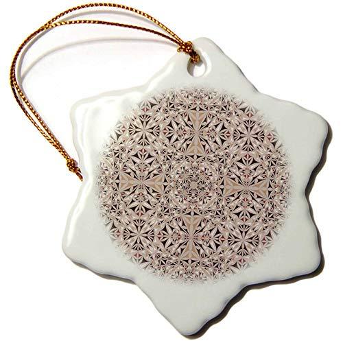 (3dRose David Zydd - Kaleidoscope Designs - Cappuccino Wallpaper - abstract kaleidoscope design - 3 inch Snowflake Porcelain Ornament (orn_289066_1))