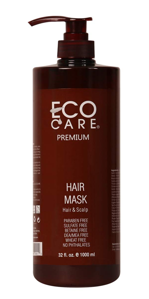 ECOCARE Hair Mask, 32 fl. oz. - For Dry, Brittle, Damaged Hair - Soothe Irritated Scalp - Long Lasting Moisturization - No Sulfate and No Paraben - Made in USA