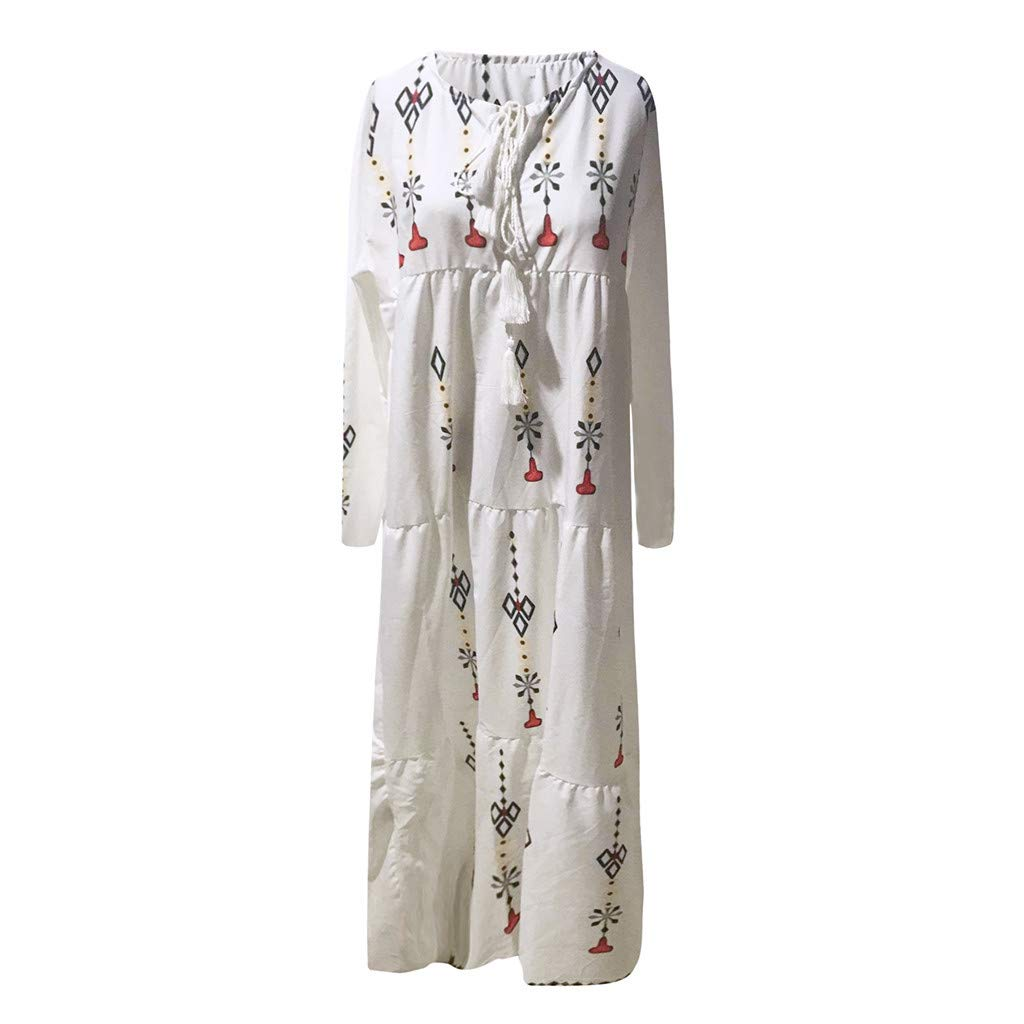 Huifa Women Plus Size V Neck Print Long Sleeve Boho Maxi Dress Hot Party Long Dress (White,XXXL)