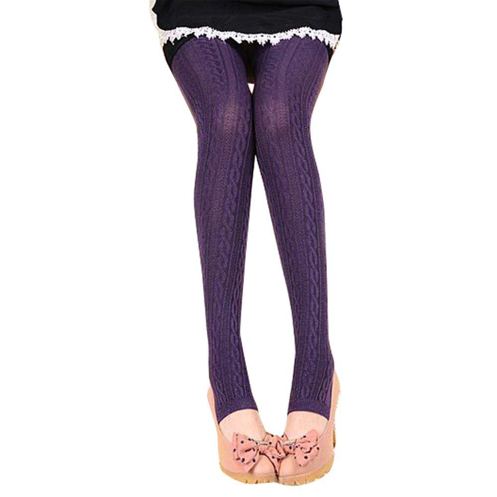 Redshop Winter Warm Girl Comfortable Women Cotton Tights Yoga Pants Leggings Stirrup Trousers Purple