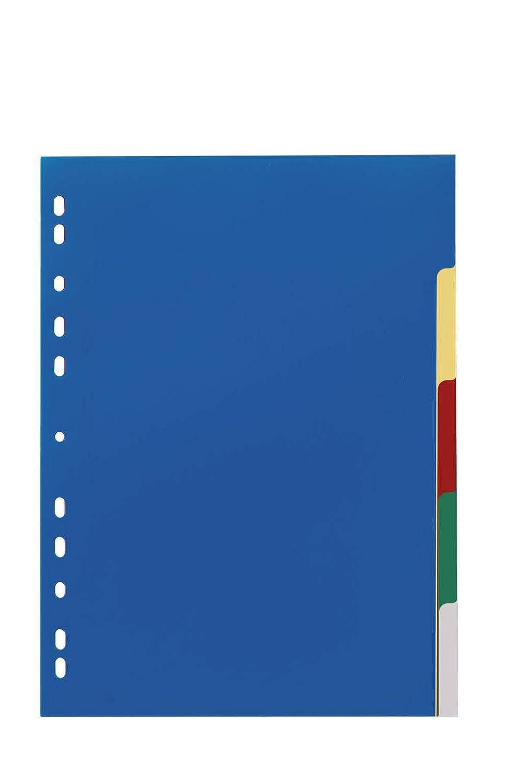 DURABLE 673027 - Divisorio con cavalierini colorati, etichette personalizzabili, 5 tasti, copertina personalizzabile, f.to A4, foratura universale Durable UK Ltd