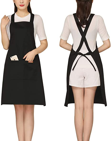 Wipeable Chef Apron Pinafore with Big Pocket Adjustable Waterproof Deposible Stripe Bib Apron for Women//Chef//Men//Home Cooking Bbq Brown Kitchen Apron for Cooking