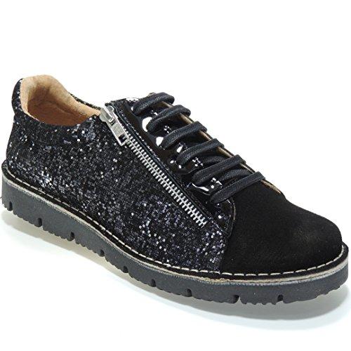 BNK - Zapato Casual Cremallera - Modelo 21668, color NEGRO, Talla 37
